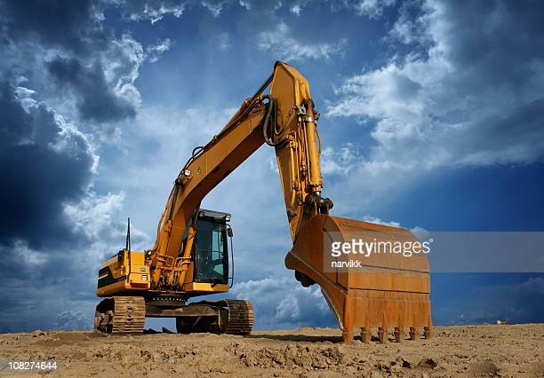 Gelbe Excavator auf Baustelle