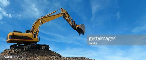 Gelbe Excavator bei der Arbeit