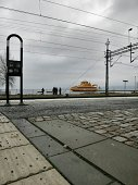 Yellow ferry in sea