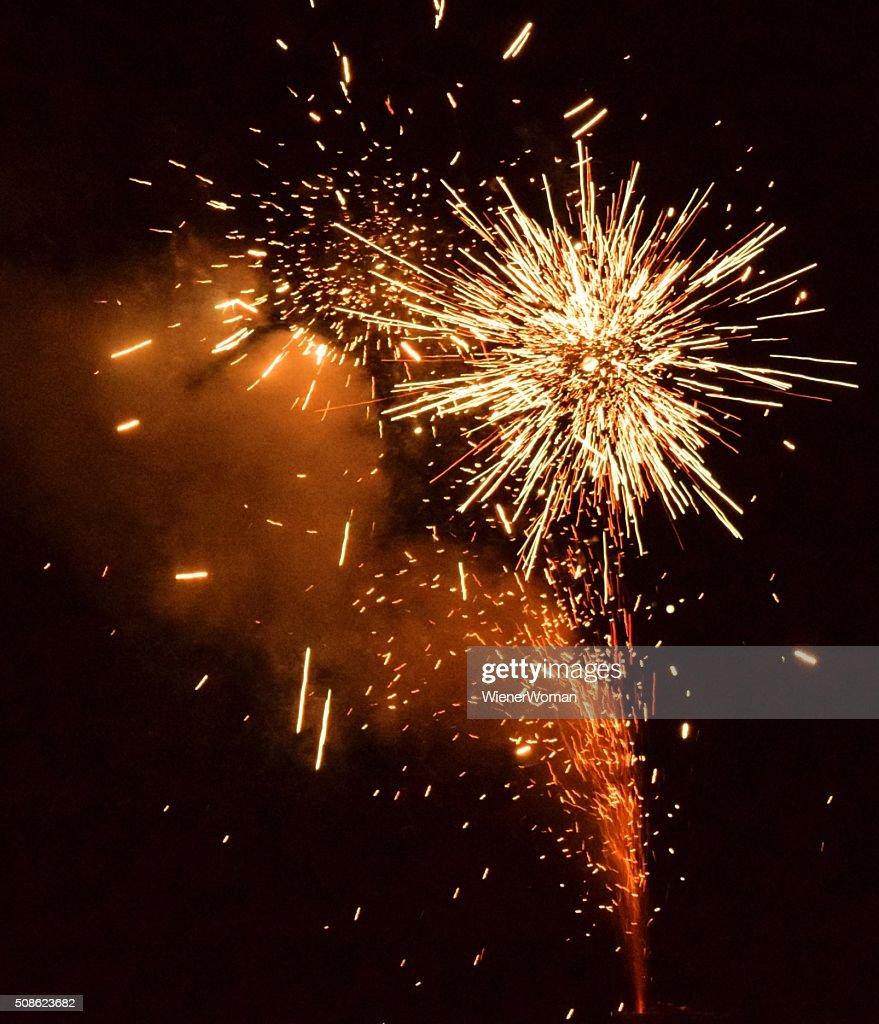 Yellow Fireworks Orange Smoke : Stock Photo