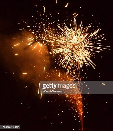 Yellow Fireworks Orange Smoke : Stock Photo