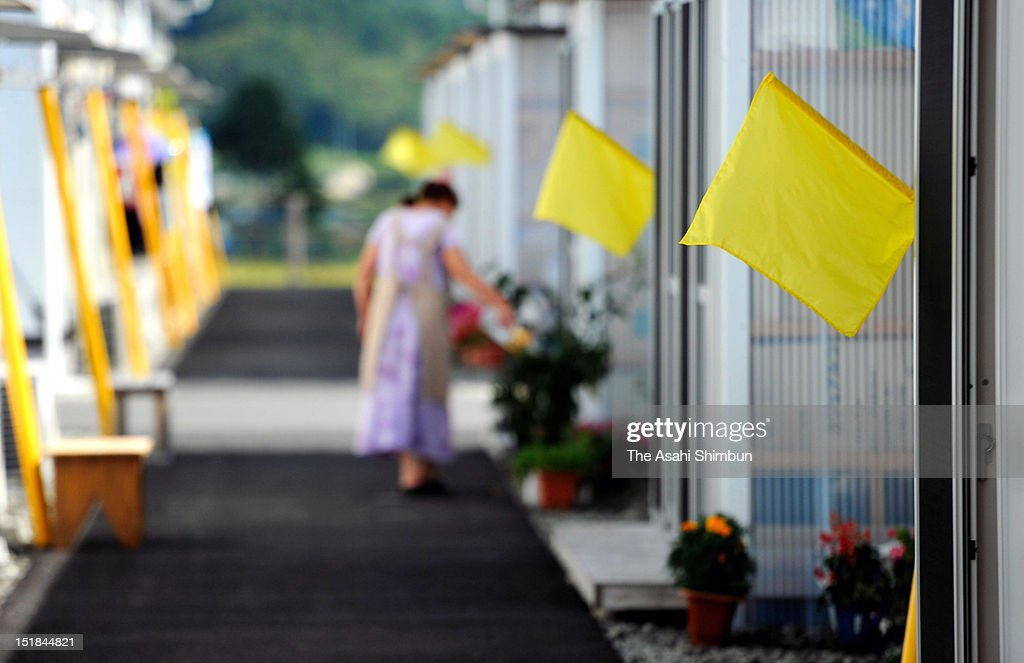 Yellow flags are hung every morning at the door of temporary housings to prevent solitary deaths on September 11, 2012 in Tamura, Fukushima, Japan. 18 months on, still 2,814 people are missing and 340,000 people are forced to live at temporary housing.