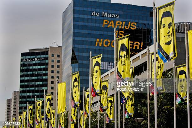 Yellow flags with all the cyclists of the Tour de France 2010 are displayed in Rotterdam on July 1 2010 The Tour de France will start in Rotterdam on...