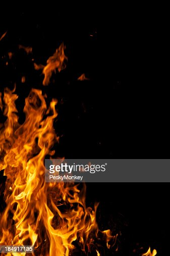 Yellow Flames Fire Campfire Background with Black Copy Space