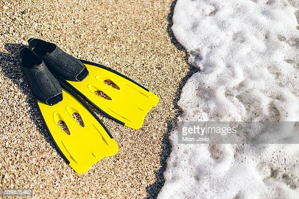 yellow flipers on a sand beach