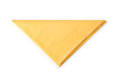 Yellow paper napkin folded as triangle. Isolated on white, clipping path included
