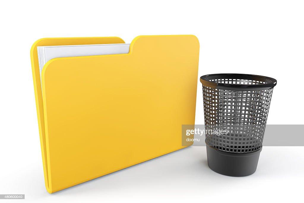 Yellow Folder with Trash Bin : Stock Photo