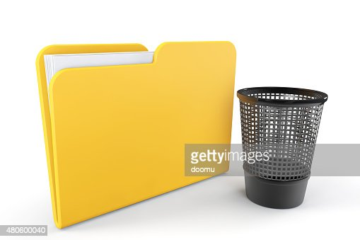 Yellow Folder with Trash Bin : Stock Photo