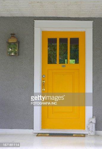 yellow front door stock photo   getty images