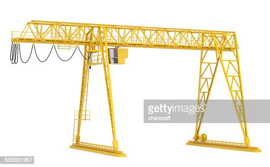 Yellow gantry bridge crane, half-turn : Stock Photo