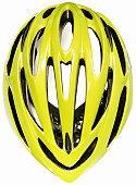 A yellow green cycling helmet
