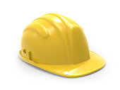 yellow hard hat  illustration on a white background 3d rendering