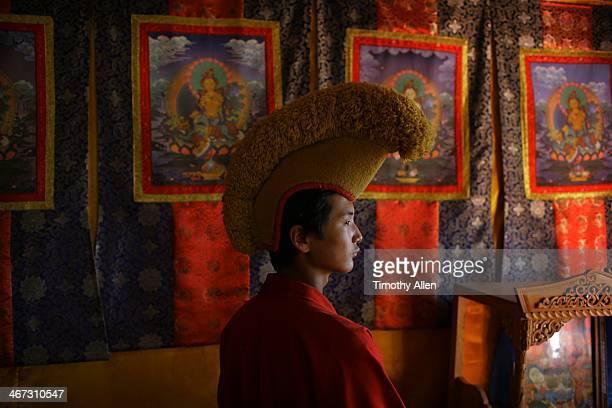 Yellow hat Buddhist monk at Uvgun Kiid Monastery