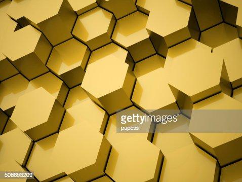 Yellow hexagonal background : Stock Photo