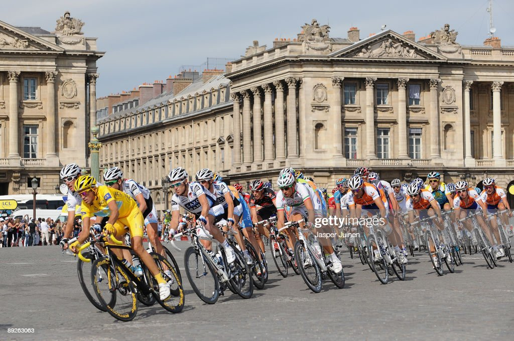 Yellow Jersey holder and race winner Alberto Contador of Spain and Astana rides with the peloton during Stage Twenty One of the Tour de France on July 26, 2009 in Paris, France.