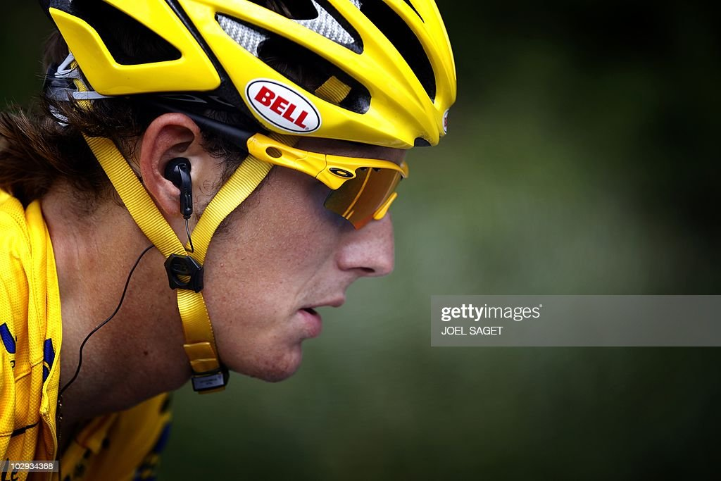 Yellow jersey of Overall leader, Luxembourg's Andy Schleck rides in the 210,5 km and 12th stage of the 2010 Tour de France cycling race run between Bourg-de-Peage and Mende, southern France, on July 16, 2010. AFP PHOTO / JOEL SAGET