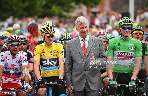 Yellow jersey wearer Chris Froome of Great Britain and Team Sky and polkadot jersey wearer Joaquin Rodriguez Oliver of Spain and Team Katusha green...