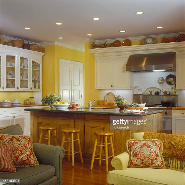 Yellow kitchen from the family room