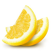 Juicy yellow lemon sections isolated on a white background.