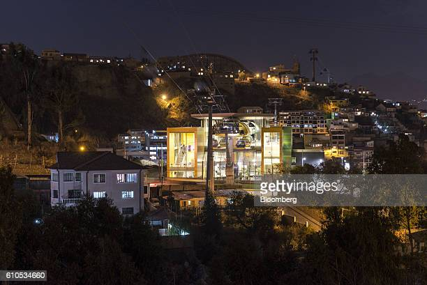 A yellow line Mi Teleferico cable car transfer station stands in La Paz Bolivia on Thursday Sept 15 2016 Boliva's Mi Teleferico cable cars are the...