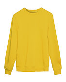 Yellow masking sport sweatshirt with copy space isolated on white