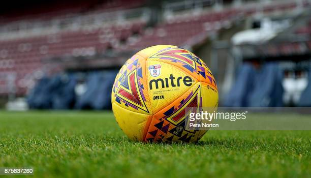 Yellow matchball is seen on the pitch prior to the Sky Bet League One match between Northampton Town and Scunthorpe United at Sixfields on November...