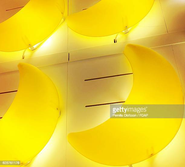 Yellow moon shape lamps