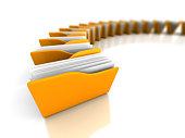 Yellow Office Document Folders On White Background. 3d Render Illustration
