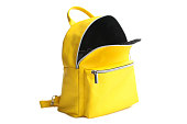 One stylish bright fashionable yellow open backpack isolated on white. Concept school, accessory.