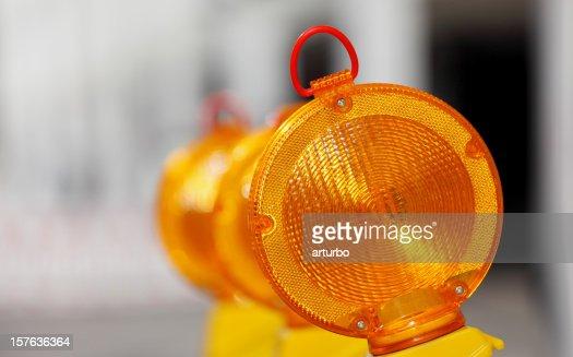 yellow orange traffic warning lamps
