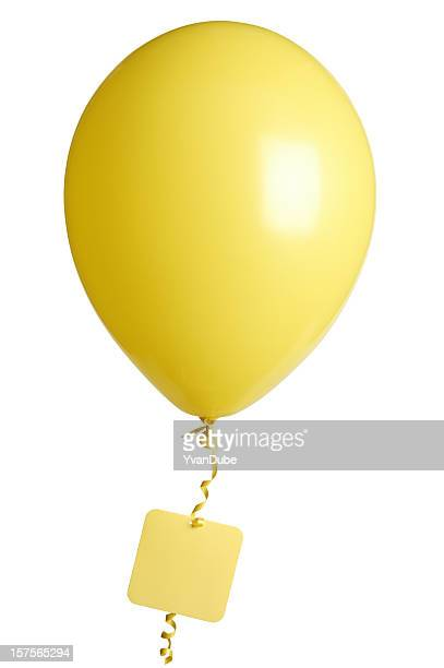 yellow party balloon blank tag