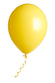 yellow party balloon isolated on white