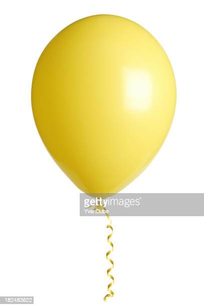Yellow party balloon on white background