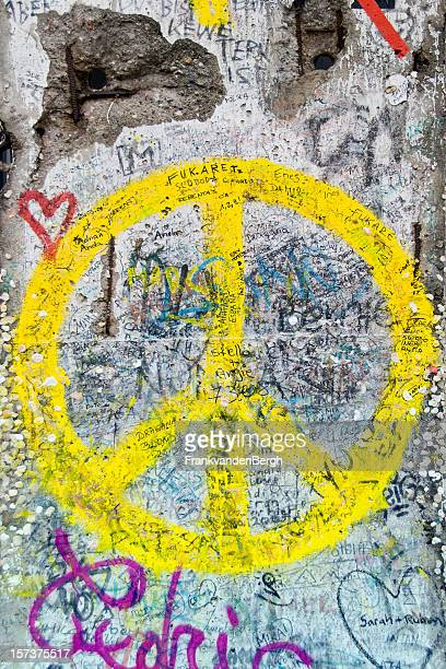 Yellow Peace Sign on Berlin Wall