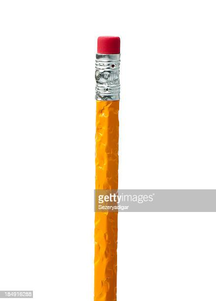 Yellow pencil with chewed up handle over a white background