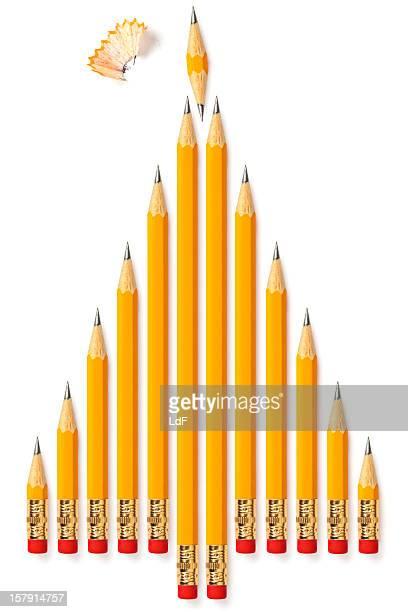 Plusieurs crayons jaunes Sapin de Noël