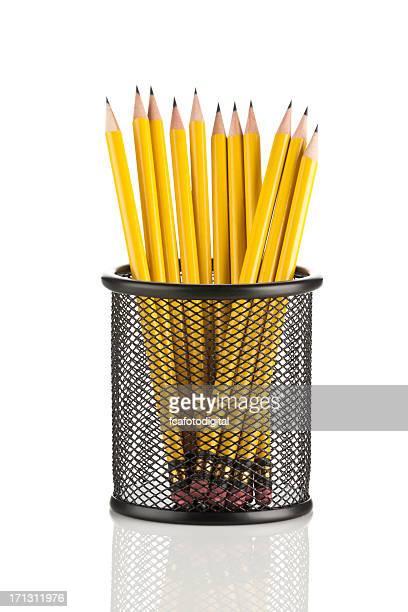 Jaune crayons en porte-crayon en maille