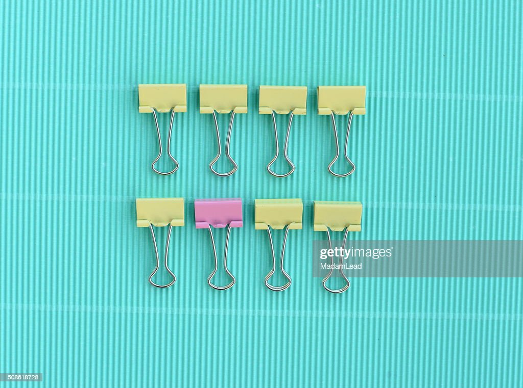 yellow pink pastel paper clip : Stock Photo