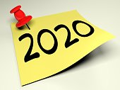 A yellow post is attached to a white wall with a red pin and has the write 2020 - 3D rendering illustration