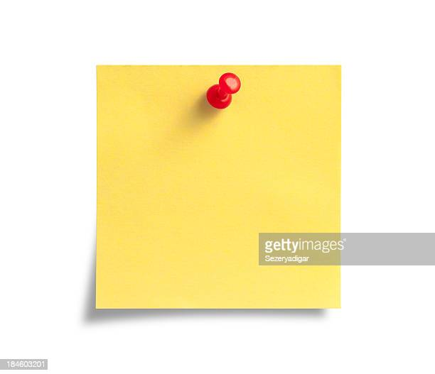 Yellow Post-it Note with Red Push Pin