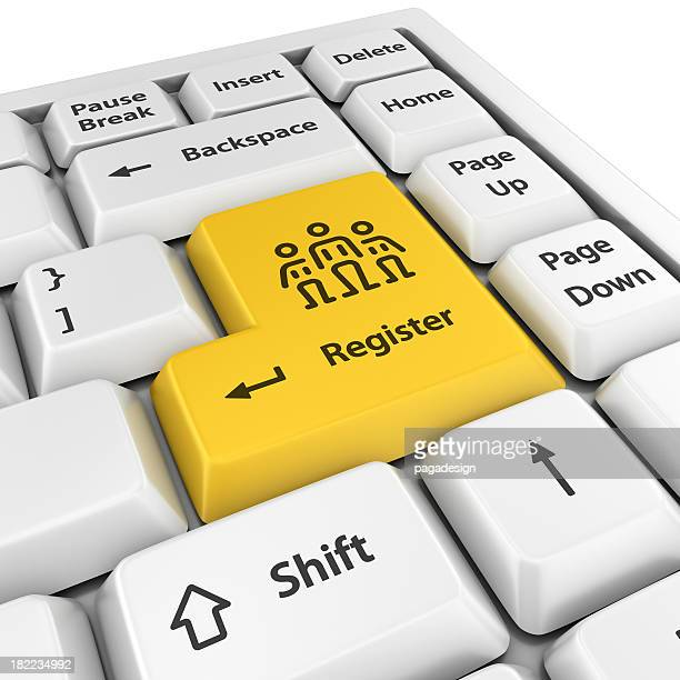 yellow register enter button