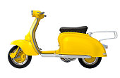 Yellow retro scooter isolated on white background. Side view. 3D render