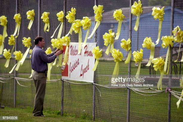 Yellow ribbons are out in Palestine W Va in readiness for the arrival of home of former POW Jessica Lynch following her discharge from Walter Reed...