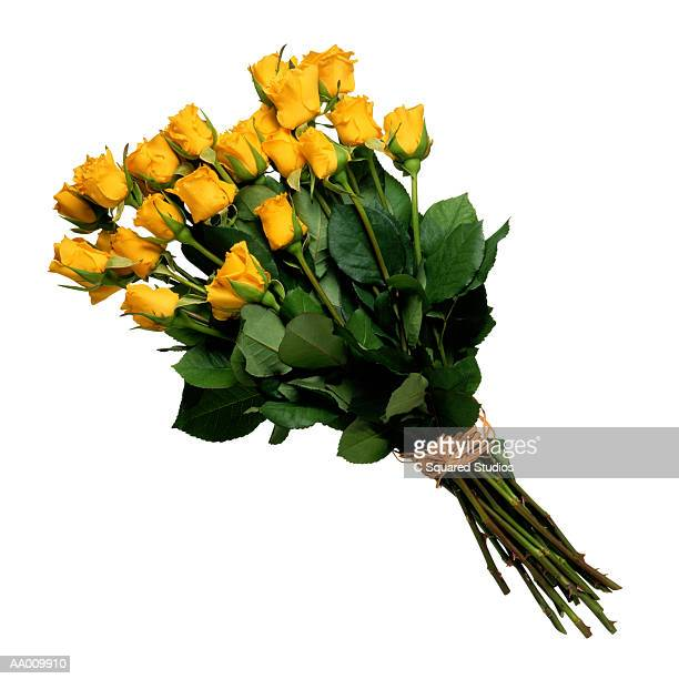 Yellow Roses Wrapped with Raffia