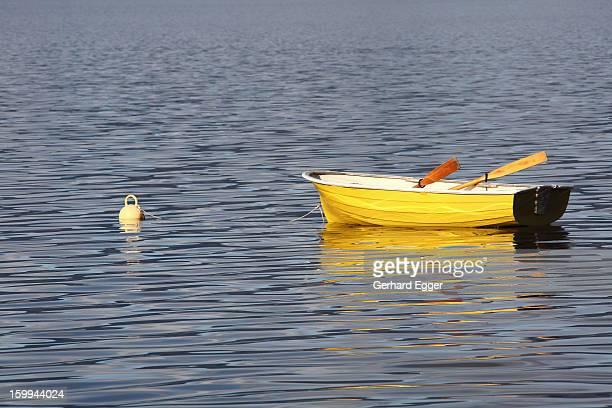 Yellow rowing boat on Lake Tarawera