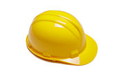 Yellow safety helmet on white background. hard hat isolated on white.