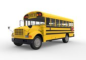 Yellow School Bus isolated on white background. 3D render