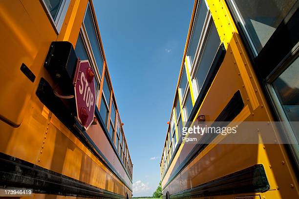 Yellow school bus waiting for students