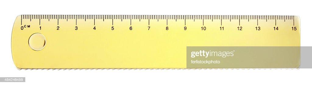 Yellow school ruler : Stock Photo