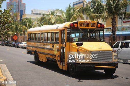 Yellow schoolbus in South Beach, Miami